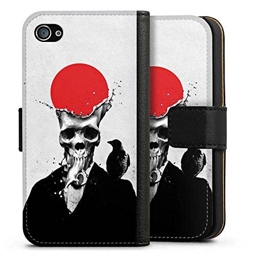 Apple iPhone X Silikon Hülle Case Schutzhülle Schädel Totenkopf Skull Sideflip Tasche schwarz