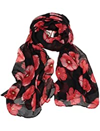 TIFENNY New Red Poppy Print Long Scarf Flower Beach Wrap Ladies Stole Shawl (Black)