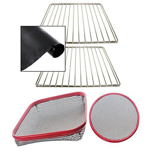 spares2go Universal verstellbar chrom Ablage für Backofen (2Stück) & Teflon Herd Liner + wiederverwendbar Silikon nicht Stick Large Pizza & Chip Tablett Korb (Korb Chip)