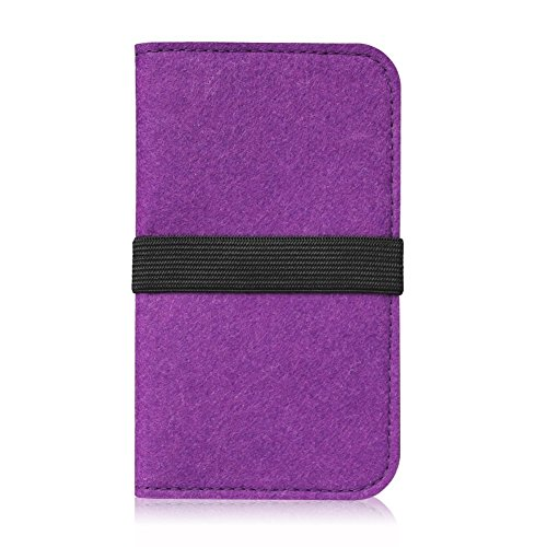 Filz Hülle für Smartphones Cover Tasche Case Flip Filztasche mit Kartenfach in verschiedenen Farben mit straffen Gummiband passend für Apple iPhone 6S Plus / 6 Plus von UC-express®, Farbe:Hell Grau Lila