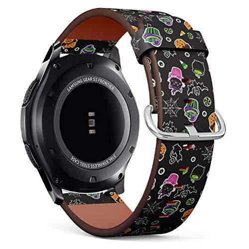 Art-Strap Kompatibel mit Samsung Gear S3 Frontier/Classic - Leder-Armband Uhrenarmband Ersatzarmbänder mit Schnellverschluss (Happy Halloween Cupcakes süße Elemente)