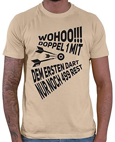 HARIZ  Herren T-Shirt Wohoo Doppel 1 Rest 499 Dart Sprüche Dartscheibe WM Plus Geschenkkarte Beige XXL
