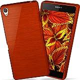 moex Sony Xperia Z2 | Hülle Silikon Rot Brushed Back-Cover TPU Schutzhülle Ultra-Slim Handyhülle für Sony Xperia Z2 Case Dünn Silikonhülle Rückseite Tasche