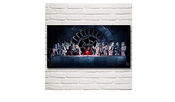 Taglia A con Cornice GHKNB Stampe e Quadri su Tela 1 Pezzi Star Wars Wall Art Stampe su Tela Dipinti Ultima Cena Poster Decorazioni per La Casa Soggiorno Immagini