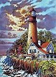 DOORWD Dipingi con i Numeri Kit Fai-da-Te Pittura a Olio su Tela Pre-Stampata Regali per Bambini Adulti Decorazione da Parete Seaside Villa Lighthouse Senza Cornice 40x50cm