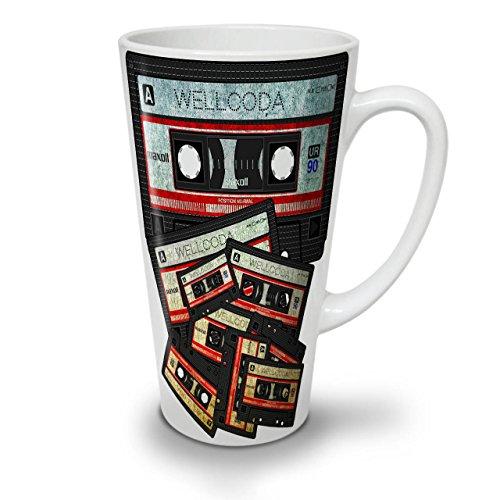 Wellcoda Musik Kassette Band Latte Becher90er Jahre Kaffeetasse - Komfortabler Griff, Zweiseitiger Druck, robuste Keramik