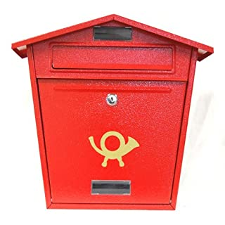 Red Steel Post Box - Traditional