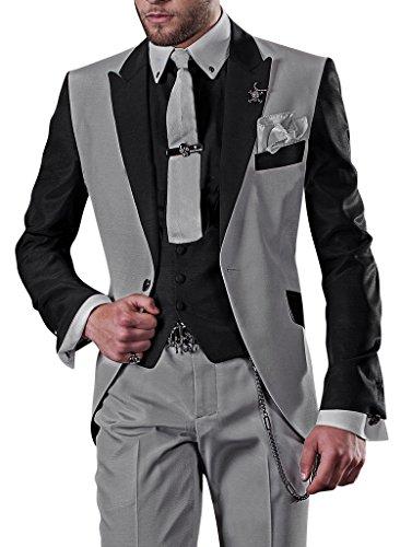 GEORGE Herren Anzug 5-Teilig Anzug Sakko,Weste,Anzug Hose,Krawatte,Tasche Platz XZ226,Grau XL