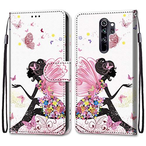 Nadoli Bunt Leder Hülle für Xiaomi Redmi Note 8 Pro,Cool Lustig Tier Blumen Schmetterling Entwurf Magnetverschluss Lanyard Flip Cover Brieftasche Schutzhülle mit Kartenfächern