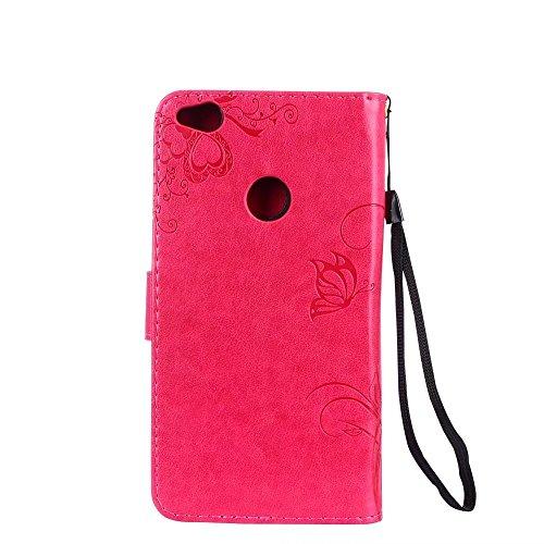 Premium PU Leder Folio Stand Case, Solid Farbe prägeartig Blumen Stil Schutzhülle Tasche Tasche mit Lanyard & Card Slots für Huawei P8 Mini 2017 (P8 Lite 2017) ( Color : Green ) Red