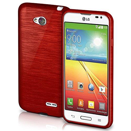 Für Lg L70 Optimus Case Handy (LG L70 Hülle Silikon Dunkel-Rot [OneFlow Brushed Back-Cover] TPU Schutzhülle Ultra-Slim Handyhülle für LG L70/L65 Case Dünn Silikonhülle Rückseite Tasche)