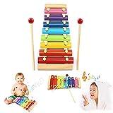 Umiwe Holz Xylophon für Kinder, Kleinkind Baby Musical Spielzeug Instrument Klavier mit 8 Farbigen Klar klingenden Metall Schlüssel, 2 Kinder-Safe Schlägel für Kinder Kleinkinder