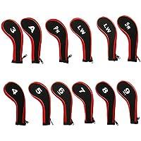Cusfull 12 piezas de fundas de cabeza de golf de cuello largo de hierro con cremallera para la mayoría de marcas Taylormade Titleist Callaway Ping Cobra Nike