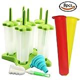 JPSOR 1 Set Kunststoff Eisformen Eis am Stiel Form Stieleisform und 2 Stück Silikon Popsicle Form BPF frei, zusammenklappbar Trichter und Reinigungsbürste