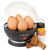 Andrew James Egg Boiler Poacher Electric Cooker with Steamer Attachment for Perfect Soft and Hard Boiled Eggs | up to 7 Egg Capacity | Water Measuring Cup & Egg Piercer | 380W