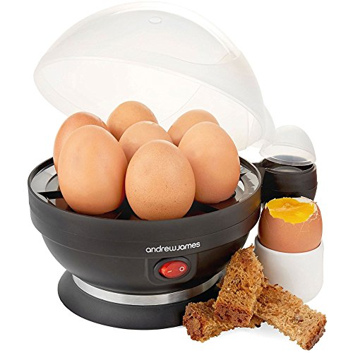 Andrew James 5060146061476 Electric Boiler & Poacher Cooker & Timer | Includes Steamer Attachment for Perfect Soft & Hard Boiled 7 Egg Capacity | Water Measuring Cup & Egg Piercer | 380W | Black, plastic 380 W