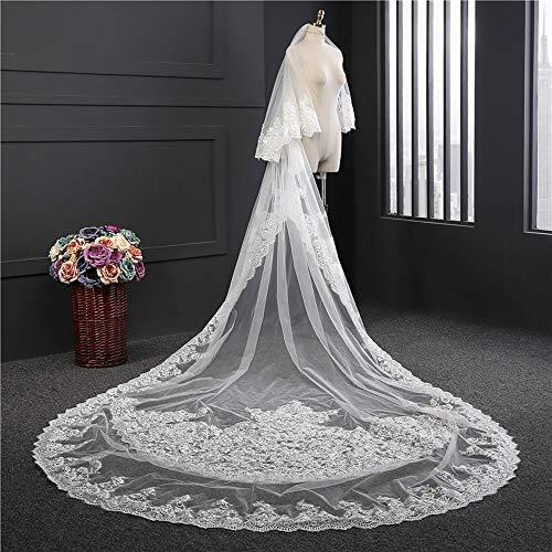 JFSKD Brautschleier 4,3 m Langer hinterer doppelter Braut-Tiara-Kamm-Hochzeitskopfschmuck,White (Schaum Tiara)