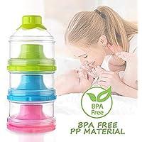 Dispensador de leche en polvo para fórmula para bebés, caja de leche portátil para leche de leche en polvo para lactantes fórmula para bebés, sin BPA, 3 capas (rosa + amarillo + azul)