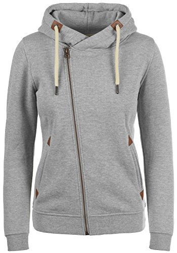 DESIRES Vicky Zip-Hood Damen Sweatjacke Kapuzenjacke Hoodie Mit Kapuze Fleece-Innenseite Und Cross-Over-Kragen, Größe:M, Farbe:Light Grey Melange (8242)