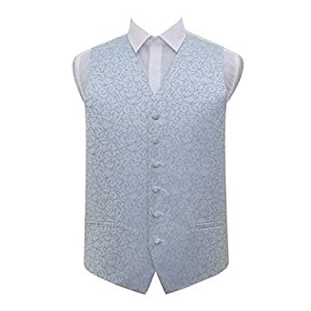 DQT Premium Woven Microfibre Swirl Patterned Baby Blue Men's Formal Wedding Tuxedo Waistcoat Vest - 36""