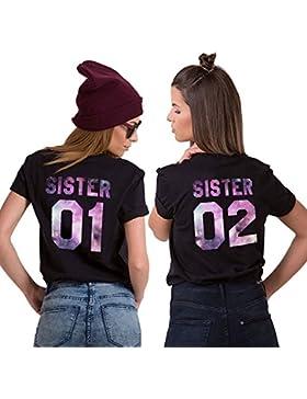 Mejores Amigas Camiseta Para Mujer T-Shirts 2 Piezas Impresión Sister 01 02 DE Colores Camisa Manga Corta Hermanas