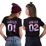 Best Freund Best Friends Sisiter Shirt mit Farbigen Aufdruck für Zwei Shirts mädchen Damen Tops Sommer Oberteil 2 Stücke BFF Geschenke(Schwarz,01-S+02-S)