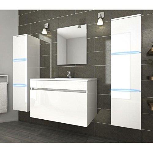 Générique Neptune Salle de Bain Complete Simple Vasque 80 cm avec éclairage LED - Blanc Brillant