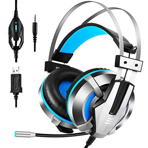 EKSA Gaming Headset PS4, 3.5mm Xbox One Headset mit Noise Cancelling Mikrofon, LED-Licht, Bass Surround Sound, 50mm Lautsprecher Treiber Kopfhörer für PC MAC Laptop IPad IPod Smartphone(Blau)