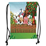 Drawstring Backpacks Bags,Cartoon,Cute Farm Animals on The Fence Comic Mascots with Dog Cow Horse for Kids Decor Decorative,Multi Soft Satin,5 Liter Capacity,Adjustable String Clos