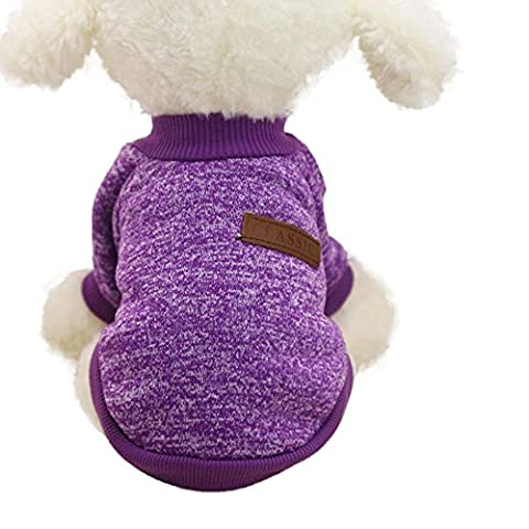 Ularma Ularma 8 Couleur Animal de compagnie Chien Chiot Classique Pull Molleton Pull Vêtements Chaud Pull (M, Purple)