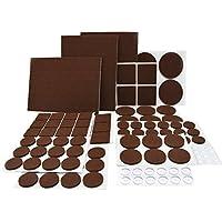 Premium Felt Pads Furniture Felt Pads for Hardwood Floors & Vinyl & Laminate 12 Sizes Self Adhesive Floor Protection 122 pcs Brown