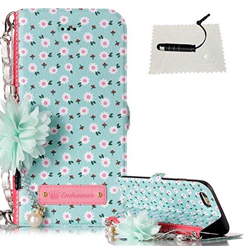 """TOCASO Schutzhülle für iPhone 6 / 6S 4.7"""" Schwarz Perlenkette Metall Handtaschen Wallet Case Glitter Schön Handyhülle für iPhone 6 / 6S 4.7"""" Flip Cover Lederhülleund -Herzmuschel"""