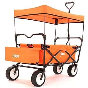 fuxtec faltbarer bollerwagen fx bw100 orange klappbar mit dach vorderrad bremse strand reifen. Black Bedroom Furniture Sets. Home Design Ideas
