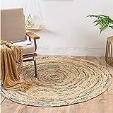 Clothes UK- Indien importierte nordische einfache handgewebte runde Jute Teppich Wohnzimmer Schlafzimmer couchtisch Decke Teppich (Farbe : Blau, größe : 100 * 100cm)