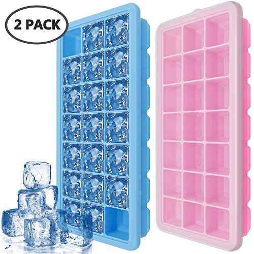 IHUIXINHE Eiswürfelform mit Deckel, 21-Fach Eiswürfel, 2er Pack 100% BPA Frei Silikon Ice Tray Ice Cube, BPA Frei Eiswürfelbox