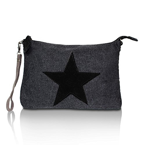 Gloop Top Fashion Sterne Handtasche Schultasche Canvas KunstLeder Trend Tragetasche TS201701 23091 Schwarz