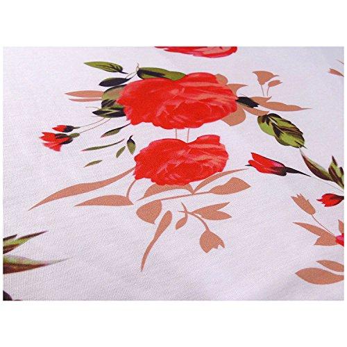 Issza Damen Sommer Casual Kurzarm Blumenmuster Rüschen Elegant Tops Bluse Shirt Rot