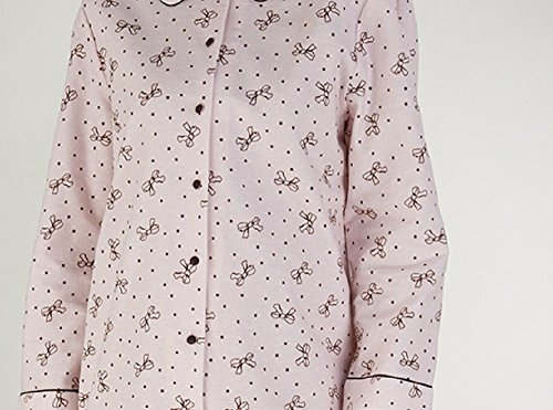 Damen Flanelette Bow Design Pyjamas Farben - blau - rosa Rosa