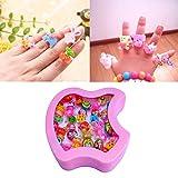 #9: DailyShop Cute Cartoon Finger Rings For Girls Gifting (Apple Shape box (Set of 36 Rings))