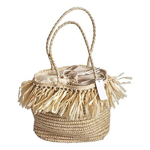 Stroh Tasche Handtasche, handgewebte Strand Quaste Schulter Strandtasche, gewebte Tasche handgemachte Rattan Tasche