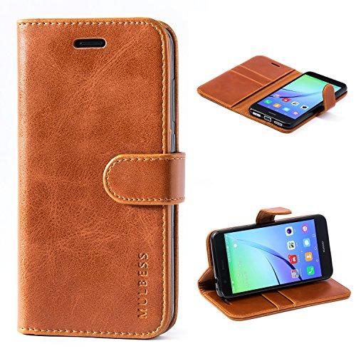Mulbess Ledertasche im Ständer Book Case / Kartenfach für Huawei P8 Lite (2017) Tasche Hülle Leder Etui,Braun (nicht für das P8 Lite Smart und P8 Lite 2015 5.0 Zoll)