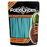 FLEXILACES - Flache elastische Schnürsenkel | Spannung einstellbar | viele Farben | nie Wieder Schuhbänder binden | passend für alle Schuhe - Türkis
