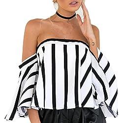 Blusa de Rayas Negra y Blanca de Mujer Fuera del Hombro Cuello Manga Superior Camisa de Manga Corta Casual para Mujer Flare Sleeve Camisetas ♡Xinantime♡ (L, ♝Blanco)