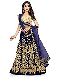 3f827466bc3495 Queen of India Women's Cotton Silk Embroidered Semi-Stitched Lehenga Choli  and Dupatta Set (