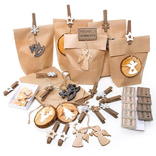 Set 25pezzi piccoli sacchetti di carta marrone sacchetto regalo + weihnachtliche mollette di legno + etichetta di natale in legno naturale vintage give aways per clienti come regalo per il pugilato e riempire