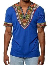 Juleya Camiseta Casual de Manga Corta para Hombre Blusa Estilo Africano Tops V Veck