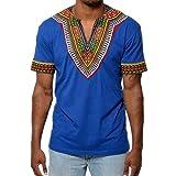 Juleya Camiseta Casual de Manga Corta para Hombre Camiseta Estilo Africano Tops V Veck Blue M