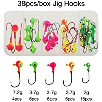 jshanmei® pesca jig Head Set diverse dimensioni piombo testa rotonda Pesca Ganci Pesca Gear attrezzature accessori con Tackle Box, 38pcs Jig Hooks - Spinnerbait Ganci