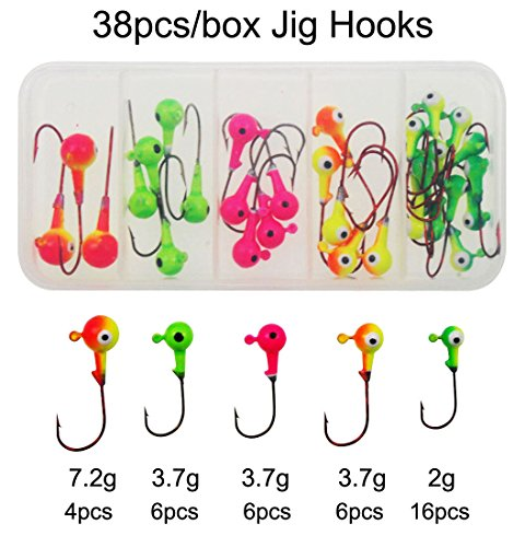jshanmei® pesca jig Head Set diverse dimensioni piombo testa rotonda Pesca Ganci Pesca Gear attrezzature accessori con Tackle Box, 38pcs Jig Hooks