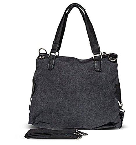 Borsa a tracolla borsa delle signore Stella Stella Jeans bag Applicazione Tela antico signore guardano con stelle nero